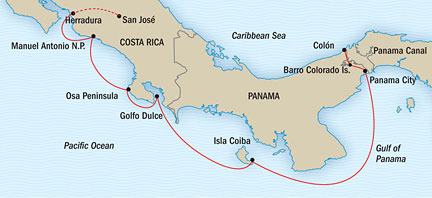 Costa Rica and Panama Canal Itinerary Map
