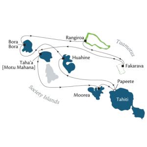 Map of Society Islands & Tuamotus