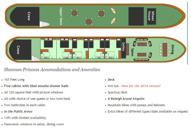 European Barge, the Shannon Princess, ready to cruise 10 passengers in Ireland. Deck Plan, Accomodations and Amenities.