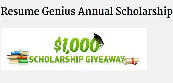 Resume Genius Annual Scholarship - 2018-2019 USAScholarships - Resume For Scholarship