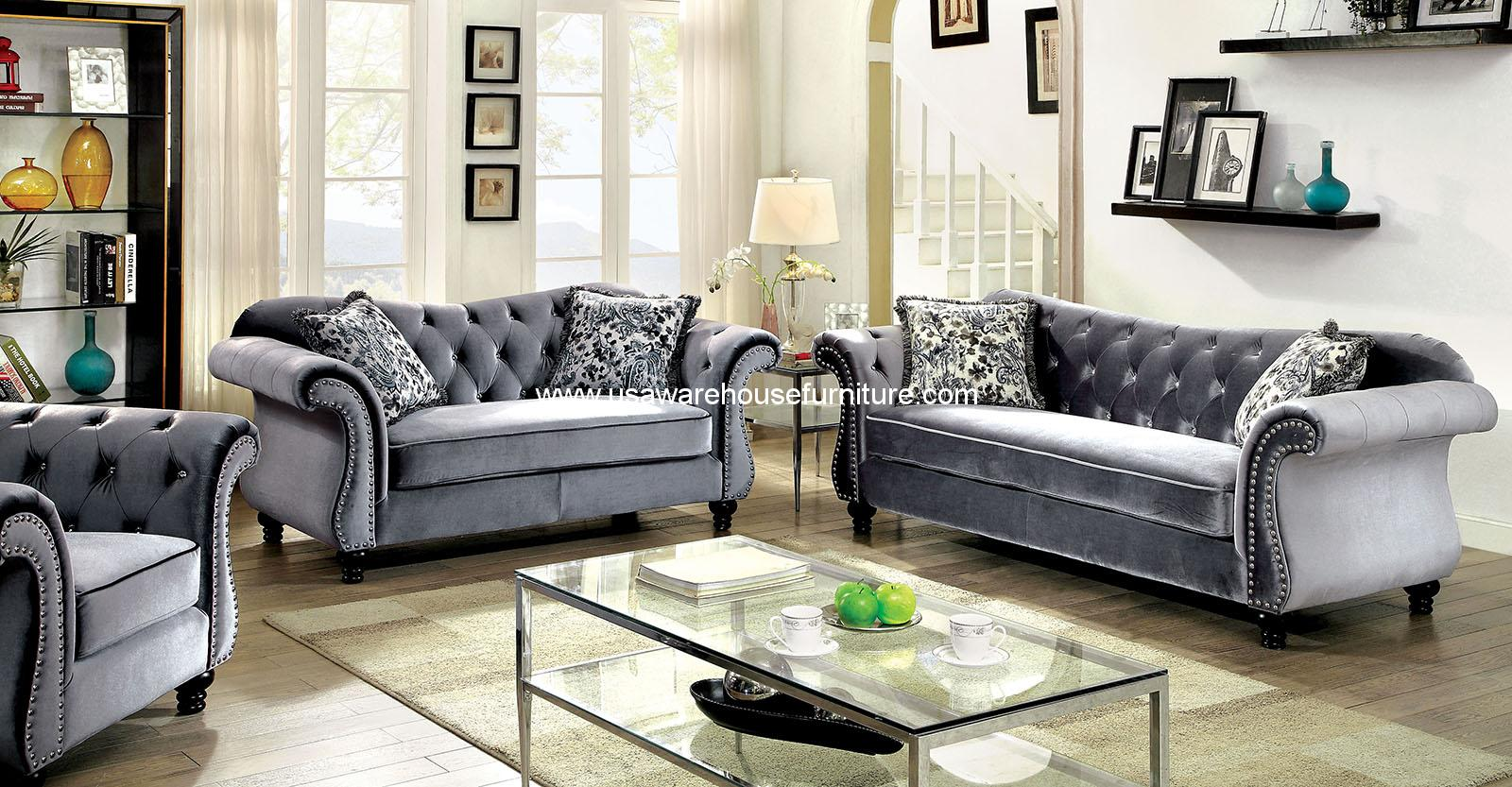 Sofa Set Grau Jolanda Traditional Gray Fabric Sofa Set