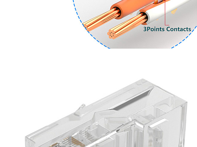 Cat5e RJ45 8P8C Modular Plug Connector - Cat5e 10P10C Gold Plated