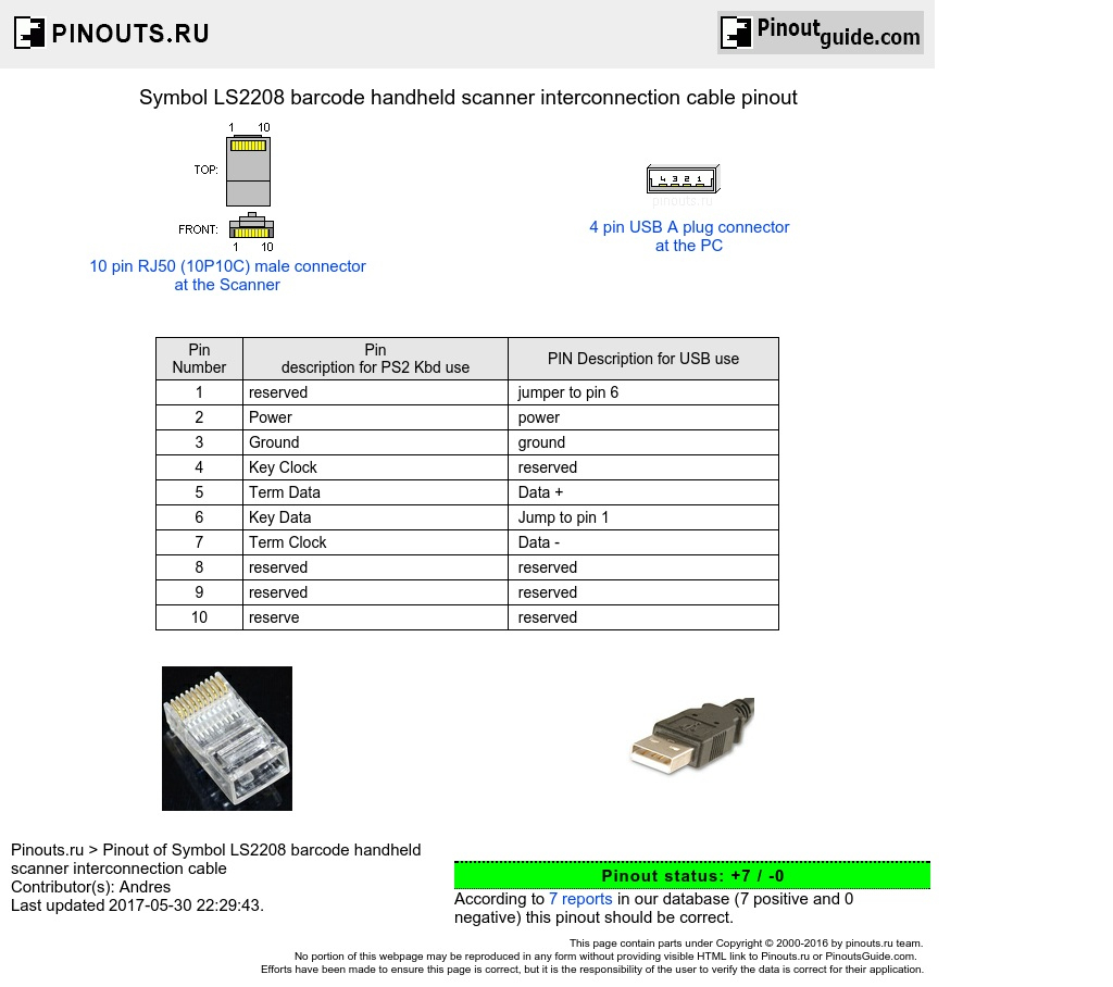 ls2208 usb cable pinout