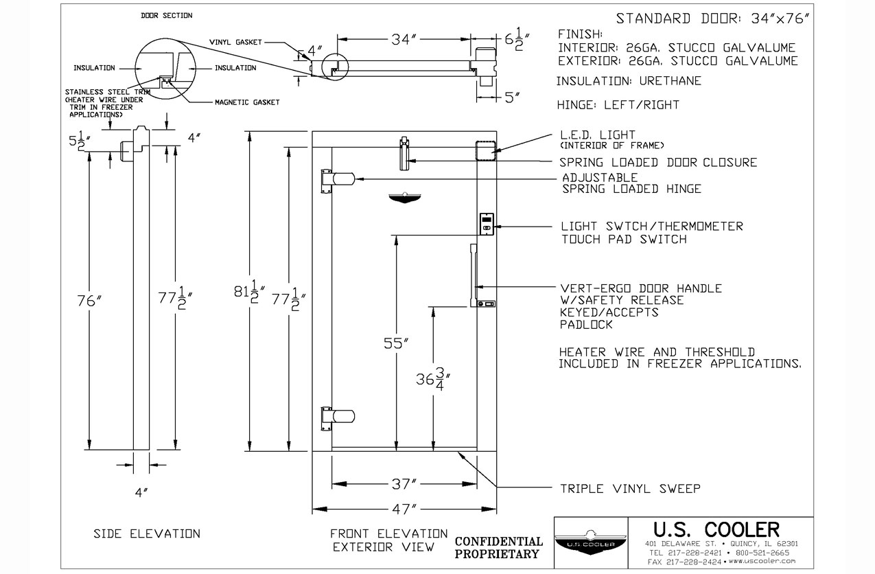 Technische Zeichnung Tür Technical Design Drawings – U.s. Cooler