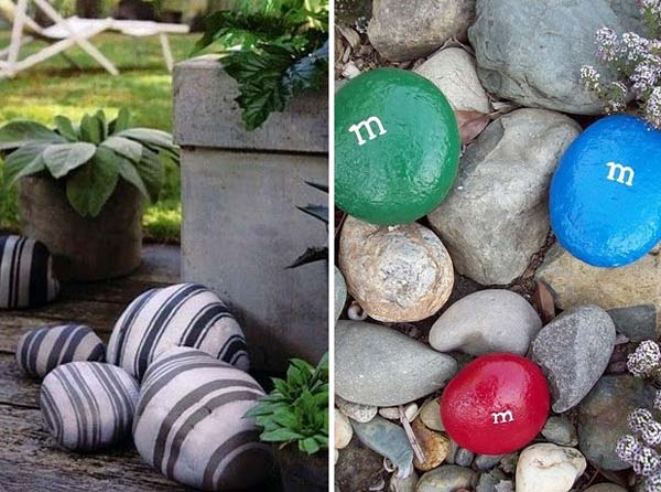 21 lovely diy decor ideas emphasized by creative pebbles art for Garden design ideas using pebbles