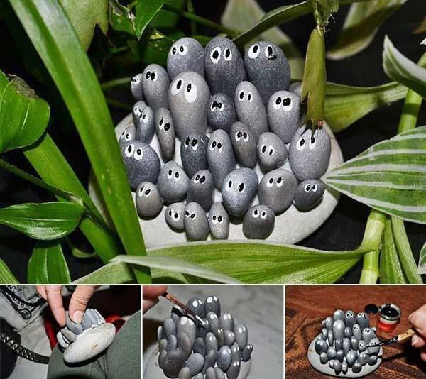 21 lovely diy decor ideas emphasized by creative pebbles art for Pebble art ideas