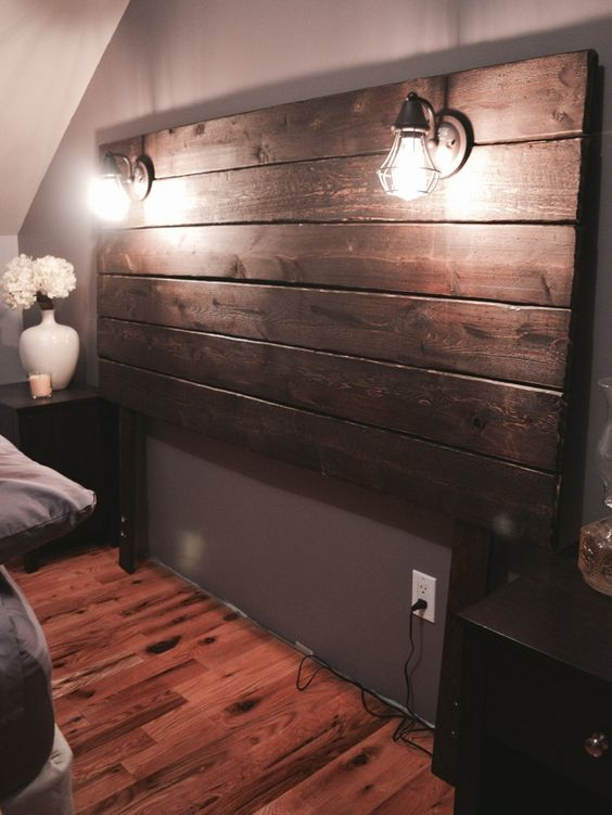 Build a Rustic Wooden Headboard Lisa s, Bedrooms and Diy headboards