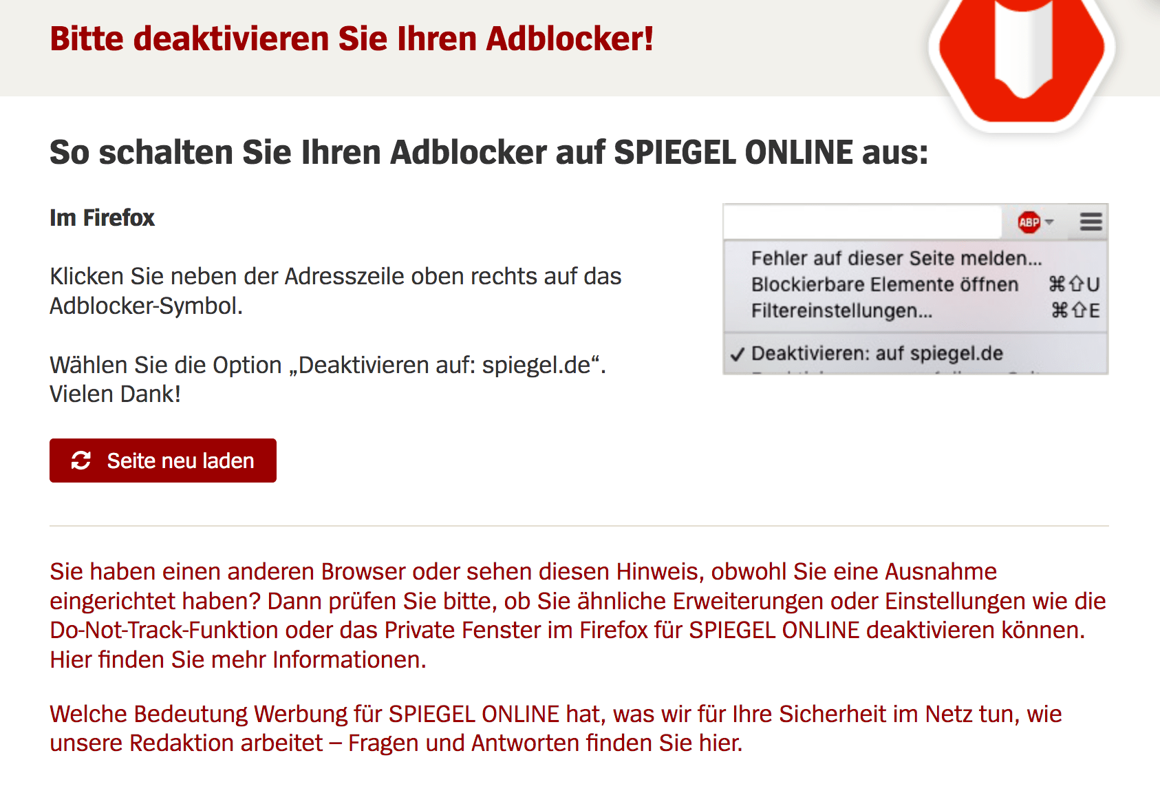 Spiehel Online Spiegel De Is Withholding Contents Even When Whitelisted