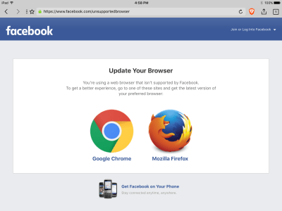 Facebook displays a warning (indicates Brave is an unsupported browser) · Issue #1042 · brave ...