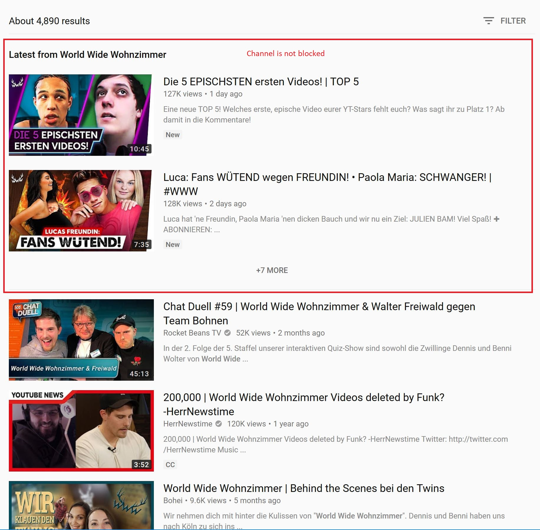World Wide Wohnzimmer Channel Is Not Blocked In Latest Video Section In Search Result