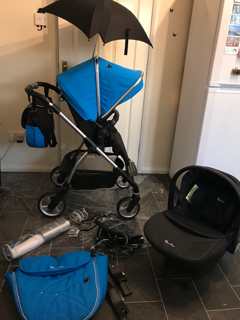 Silver Cross Pushchairs On Ebay Silver Cross Wayfarer Travel System Pram Pushchair Stroller Blue Umbrella Boy