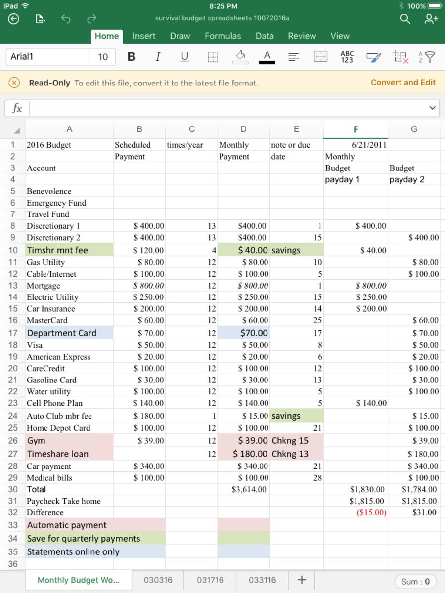 A Survival Budget Spreadsheet ToughNickel