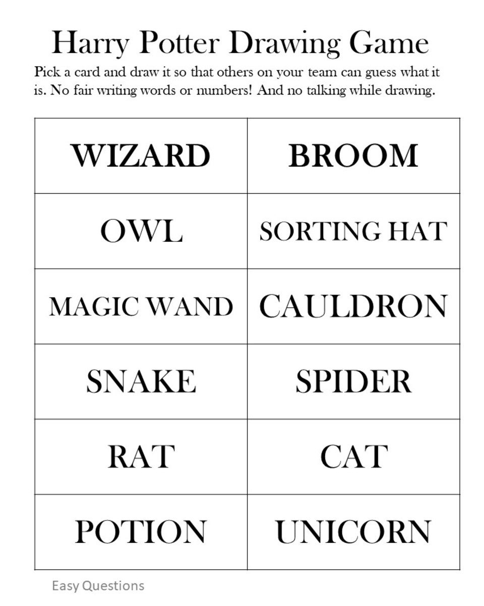 Entertaining Harry Potter Party Games Printables and Group Games