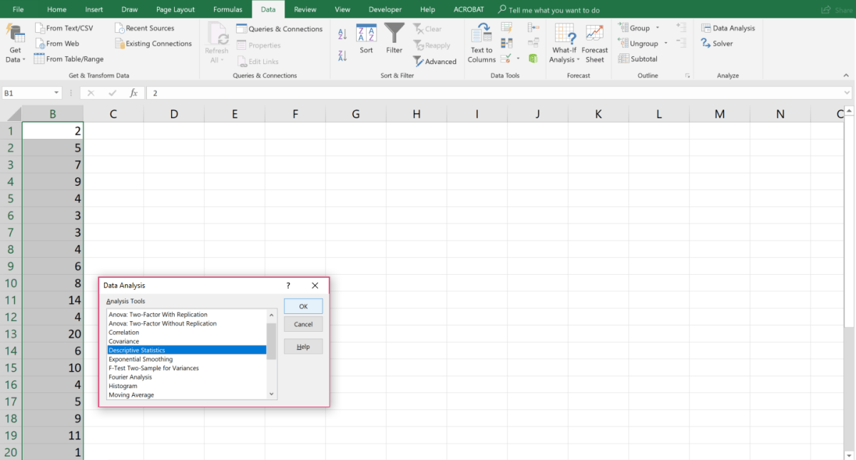 How to Use Microsoft Excel\u0027s Data Analysis ToolPak for Descriptive