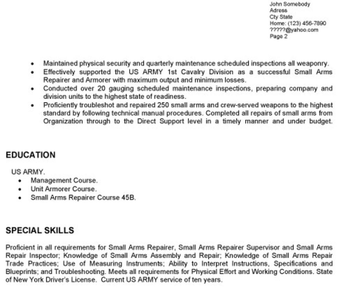 Small Arms Repair Sample Resume kicksneakers - small arms repair sample resume