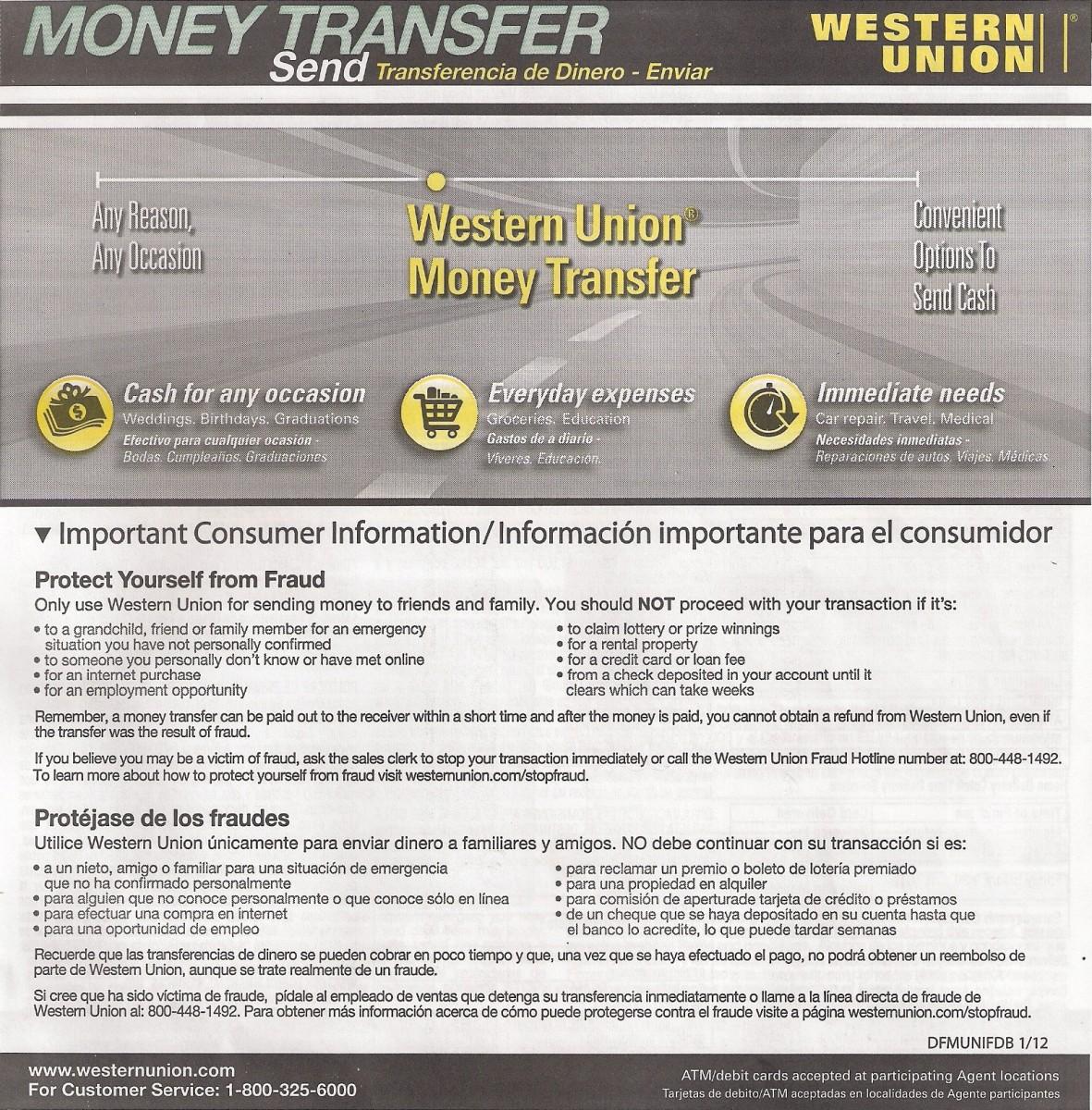 wiring money thru western union