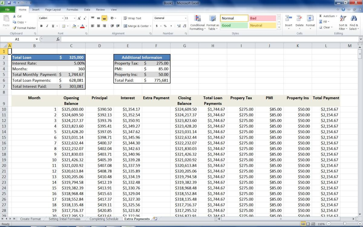 Mortgage Loan Calculator Using Excel TurboFuture - Loan Calculator Excel