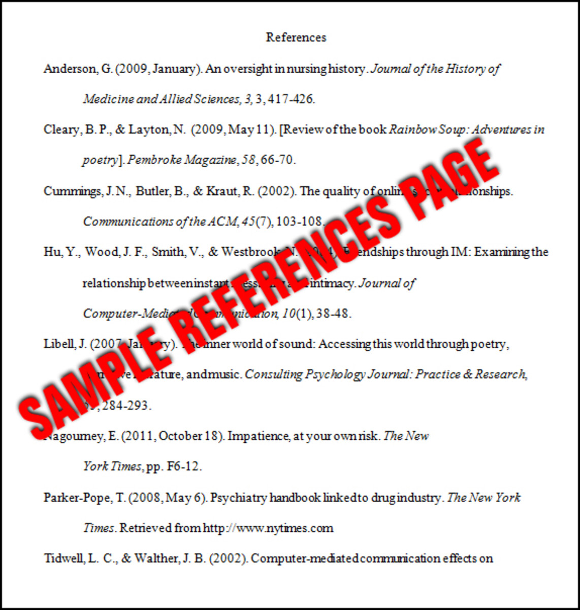 Essay Basics Format a References Page in APA Style Owlcation - Apa References Page Sample