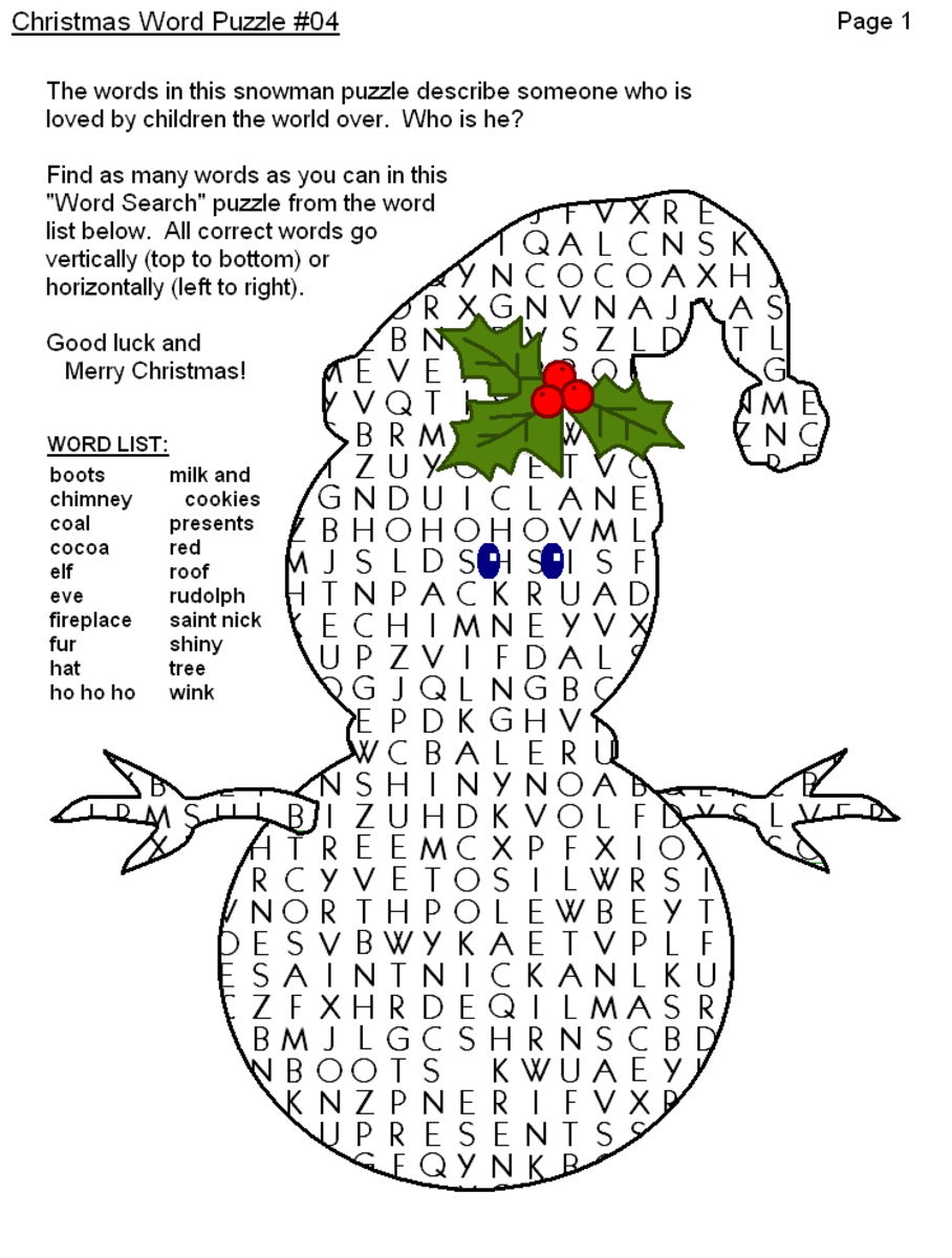 Christmas Word Puzzle, Word Search Printables Holidappy