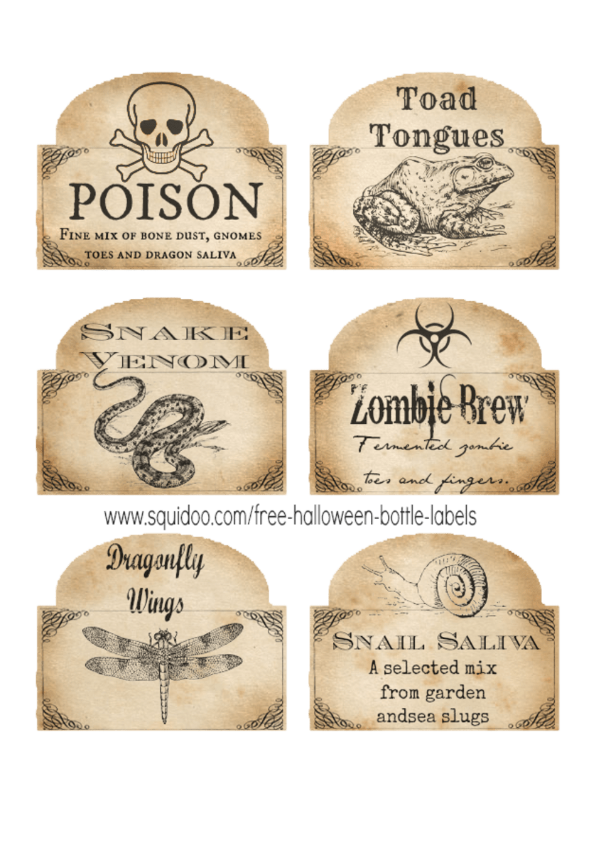 Free Printable Halloween Bottle Labels  Potion Labels Holidappy