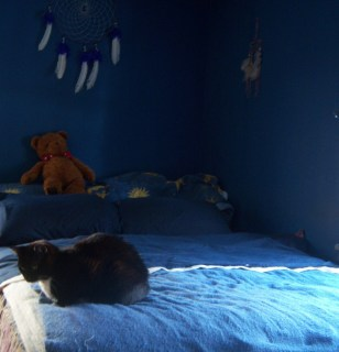 A bed with blue blankets with a tuxedo cat sitting at the foot of the bed and a teddy bear sitting at the head of the bed. The room has blue walls and a blue & white dream catcher on one of them.