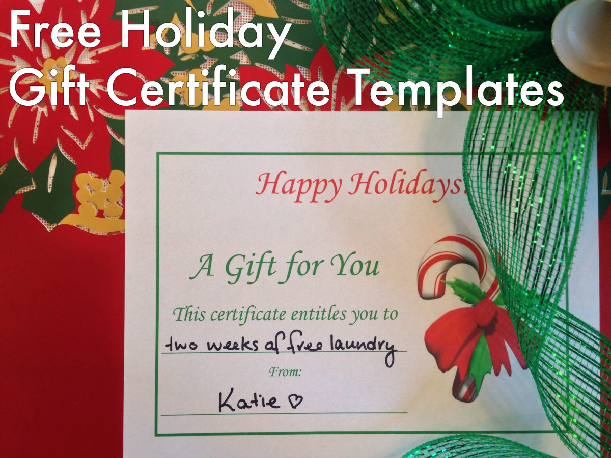 Free Holiday Gift Certificates Templates to Print HubPages - personalized gift certificates template free