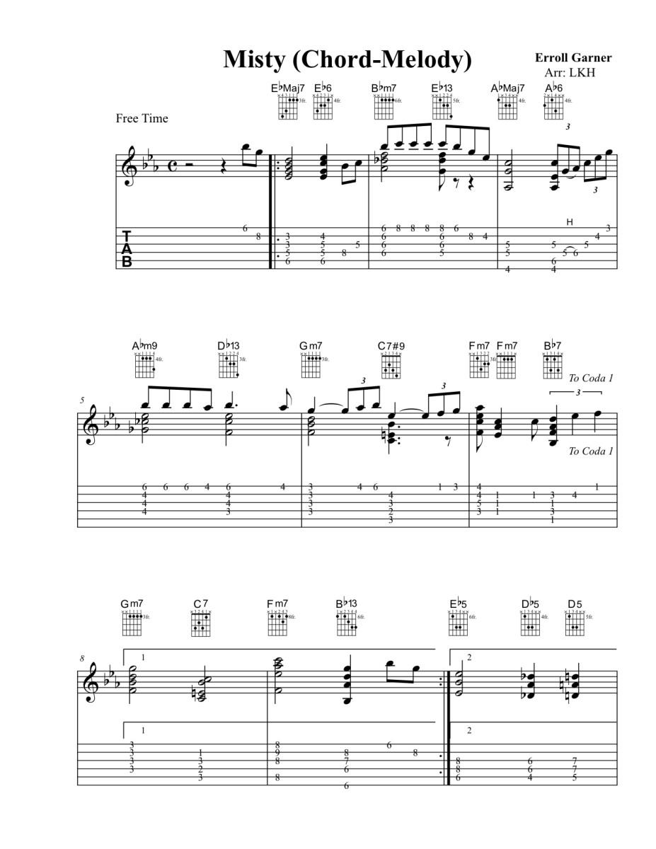 Jazz Guitar Lessons \u2022 Misty \u2022 Chord Melody Chart, Modal Breakdown