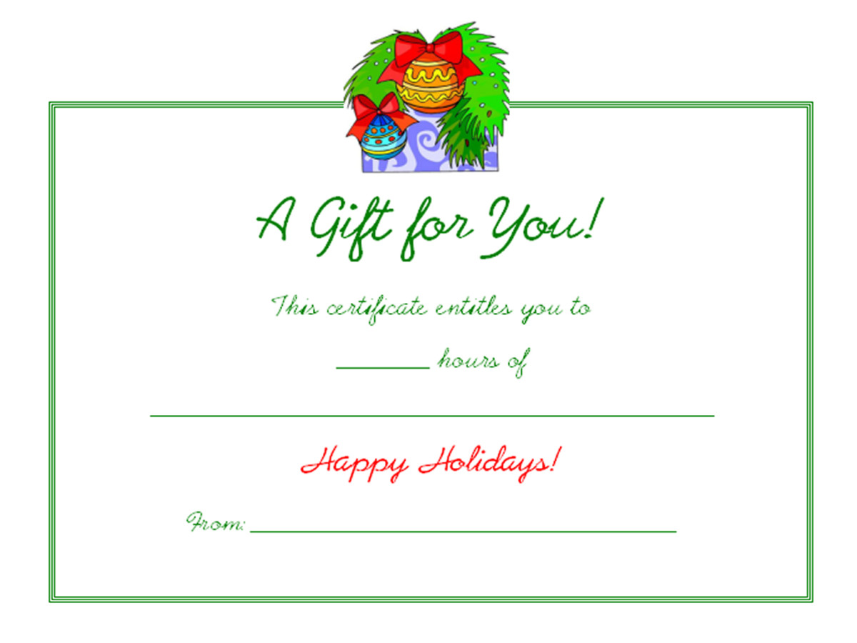 Free Holiday Gift Certificates Templates to Print HubPages - christmas gift certificate template free
