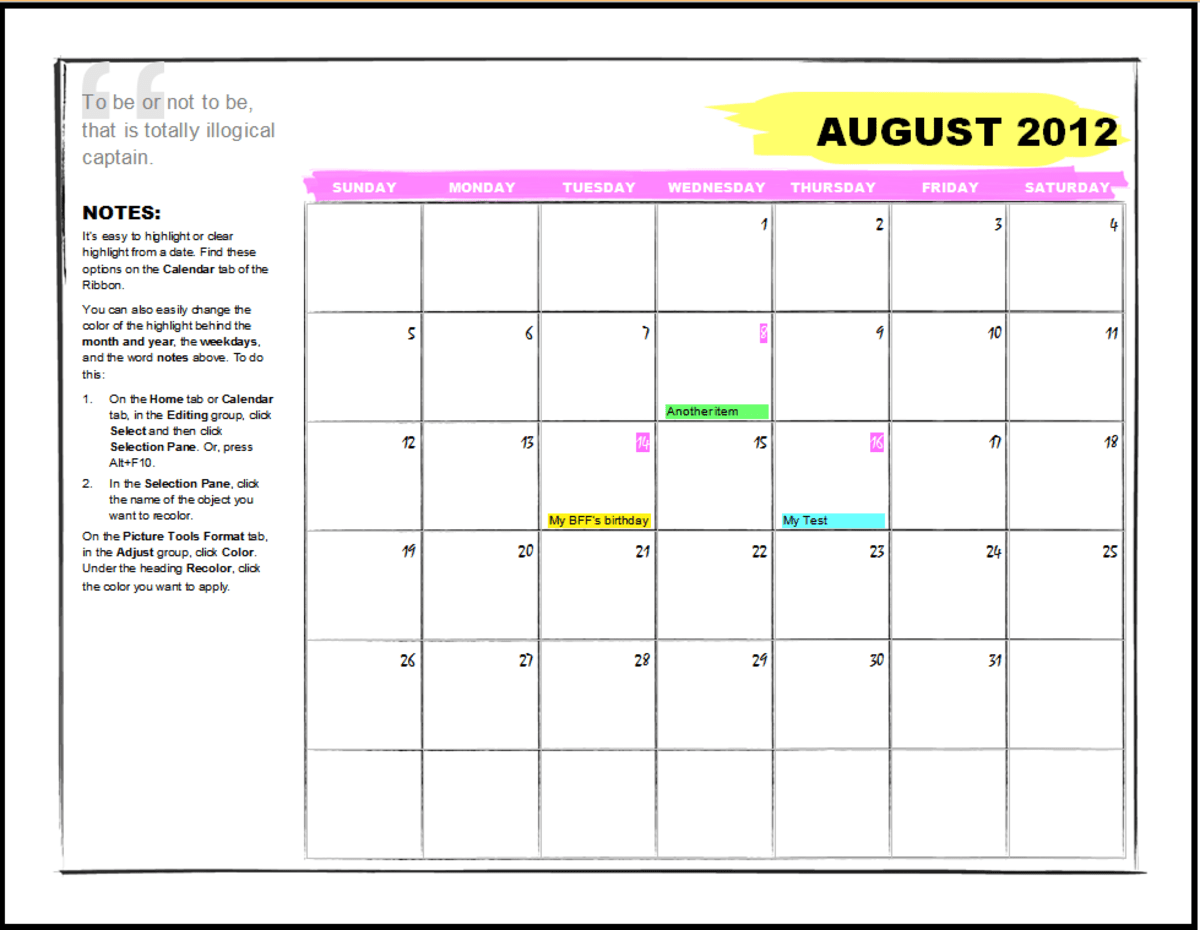 ms word 2013 calendar template - Towerssconstruction