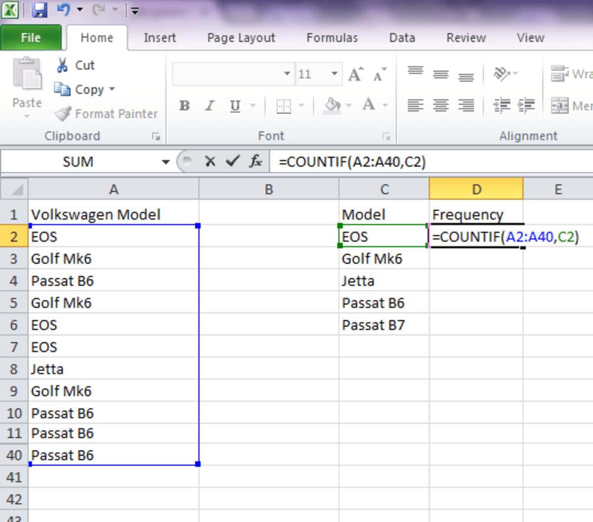 Using Excel COUNTIF Function in Frequency Distribution Owlcation - creating formulas in excel