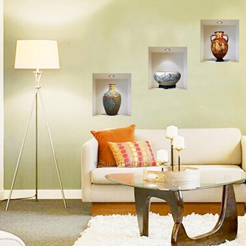 Vase art home decor removable 3d pvc wall sticker mural