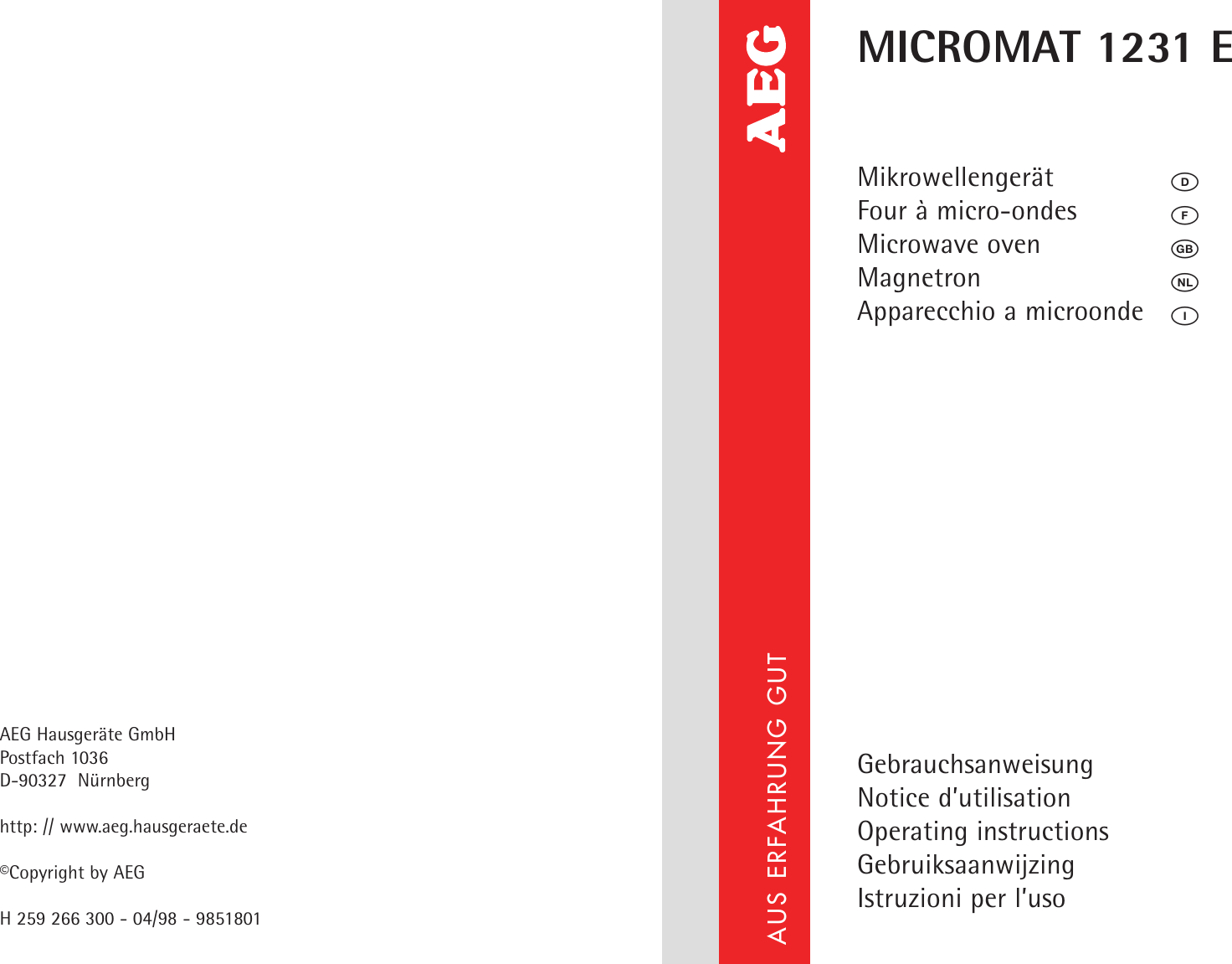 Aeg Magnetron Aeg Micromat 1231 E Users Manual 98518 01 Gb