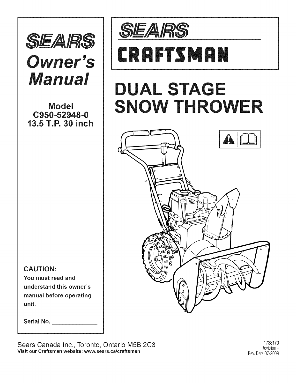 Taille Pneu 406 Coupé Craftsman C950 52948 User Manual Snow Thrower Manuals And Guides