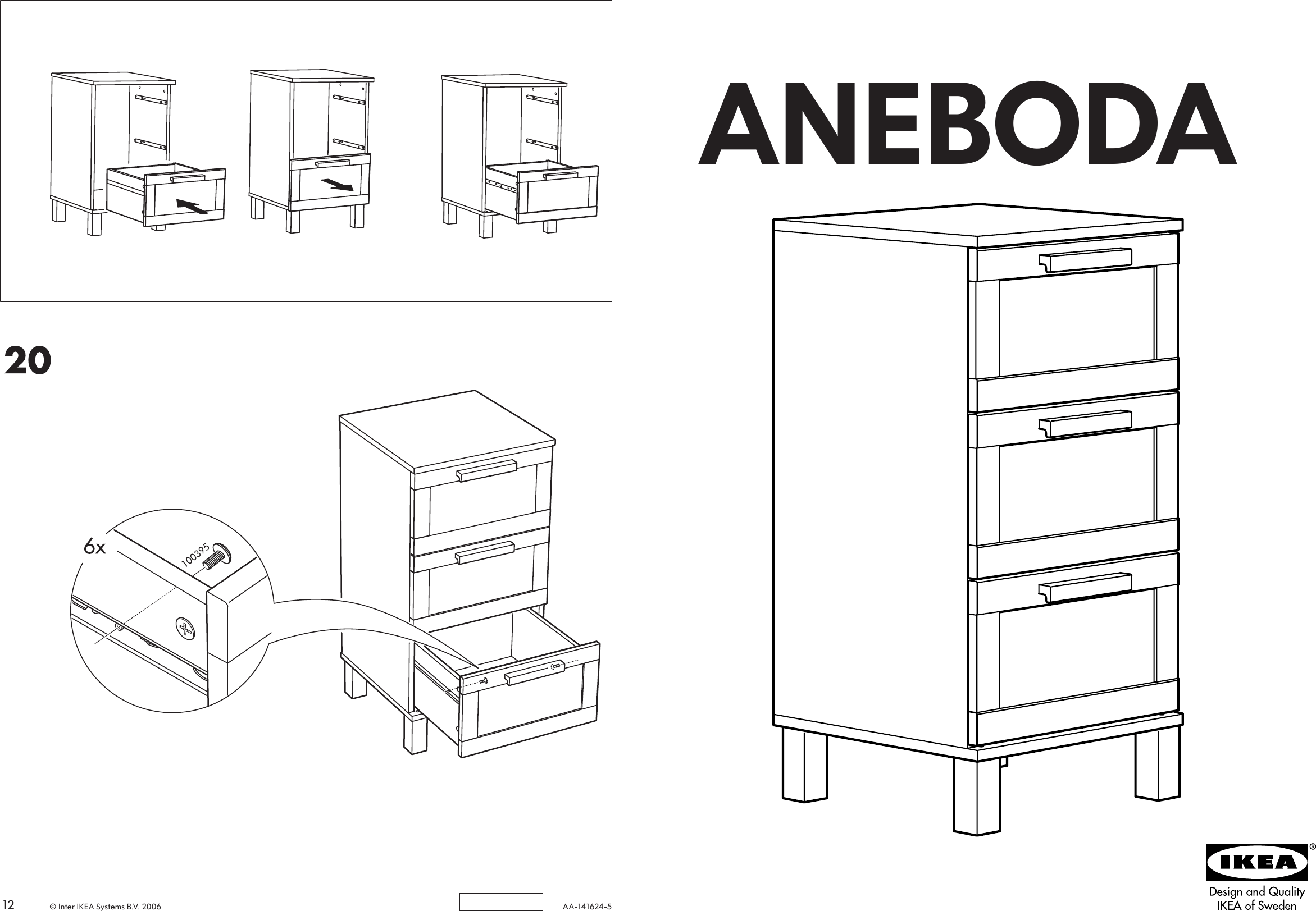Aneboda Chest Of Drawers Ikea Aneboda Chest 3draw 16x32 Wht Assembly Instruction