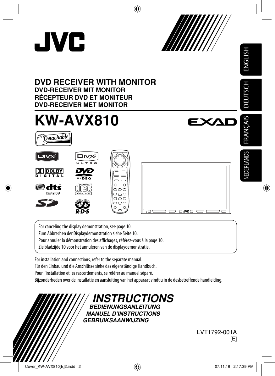 Verlichting Met Afstandsbediening Jvc Kw Avx810e Avx810 [e] Instructions User Manual Lvt1792