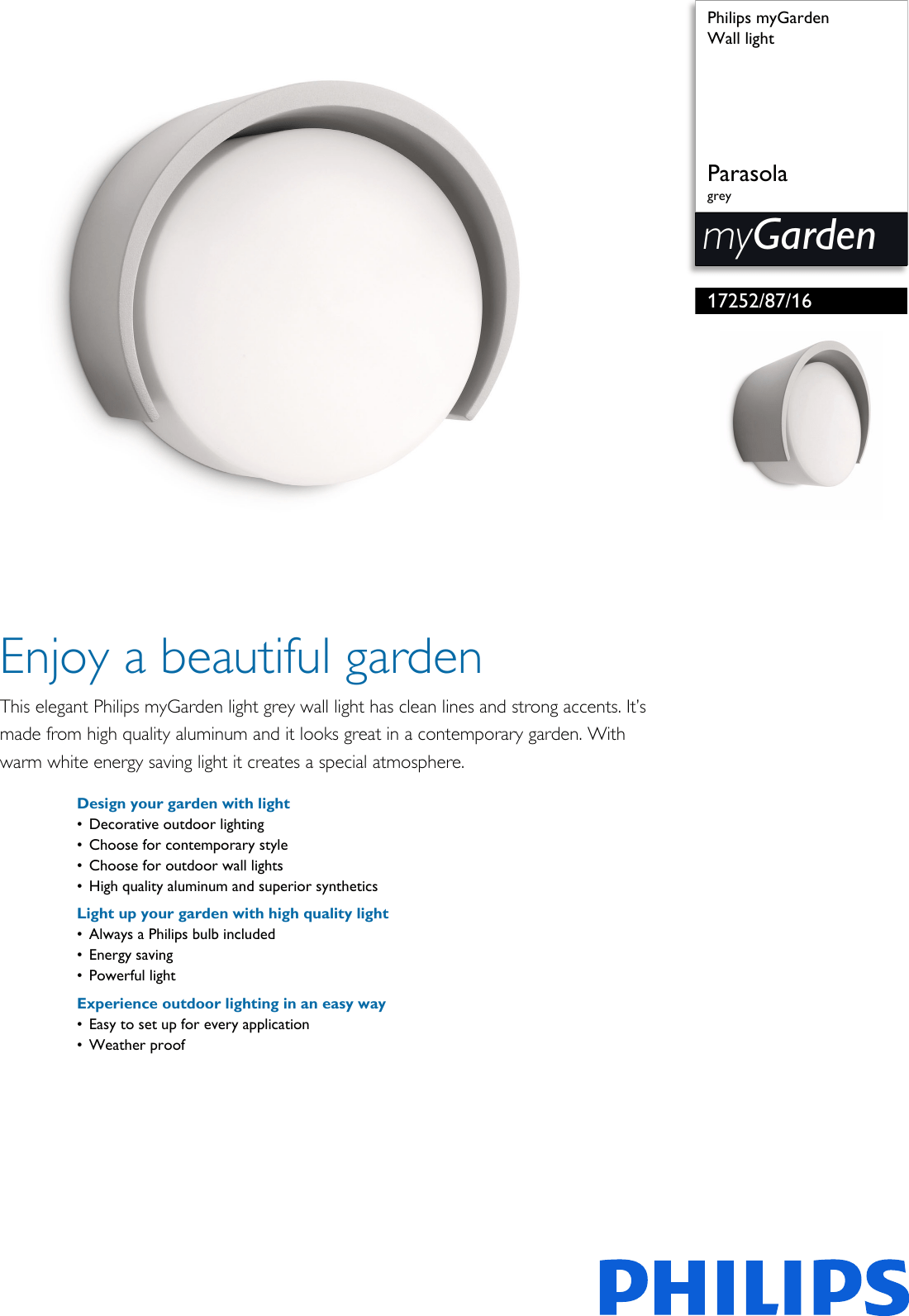 Philips Mygarden Outdoor Wall Light Philips 172528716 Wall Light Leaflet Pss