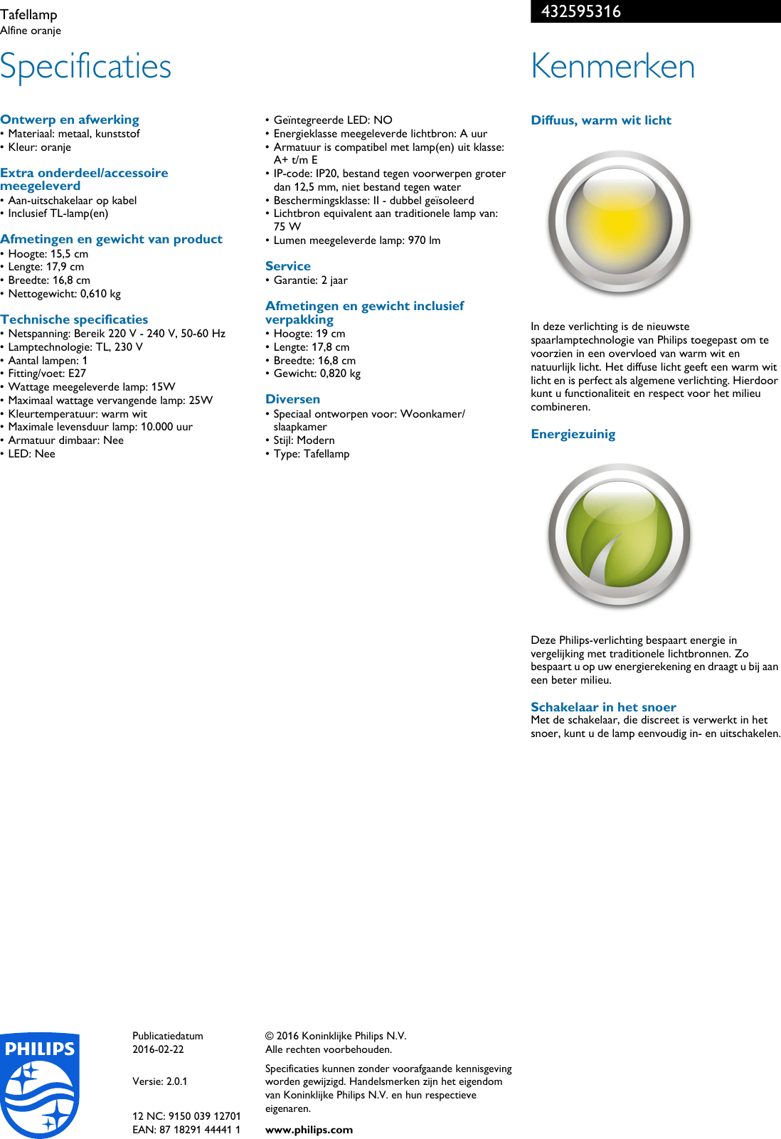 Tl Verlichting Wiki Philips 43259 53 16 432595316 Tafellamp User Manual Brochure Pss Nldbe