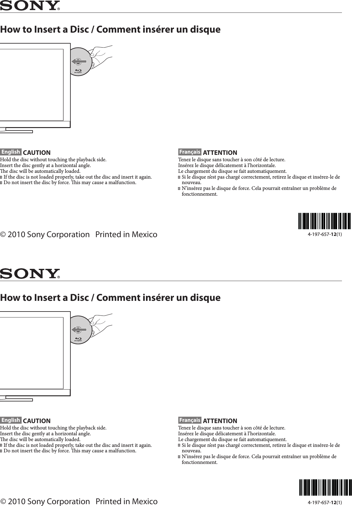 Fonctionnement Insert Sony Kdl 32ex40b 40 32ex40b User Manual How To Insert A Disc Flyer