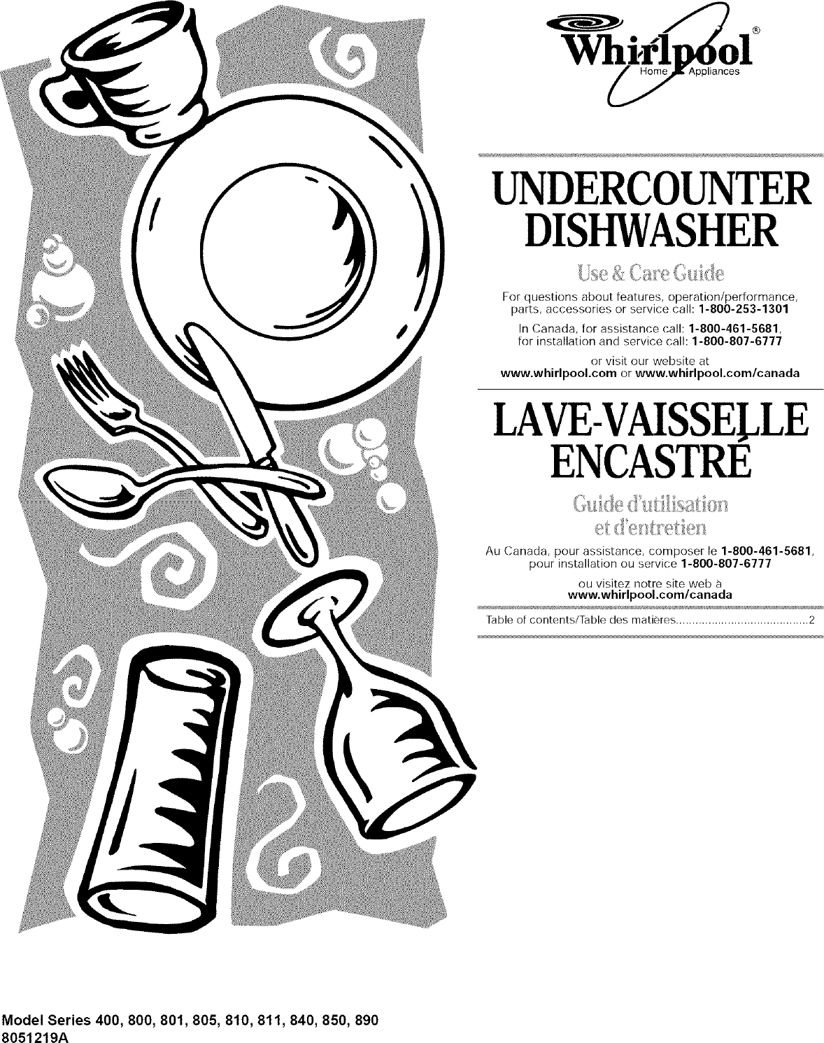 Whirlpool Dishwasher Parts Canada Whirlpool Du805dwgb1 User Manual Undercounter Dishwasher Manuals