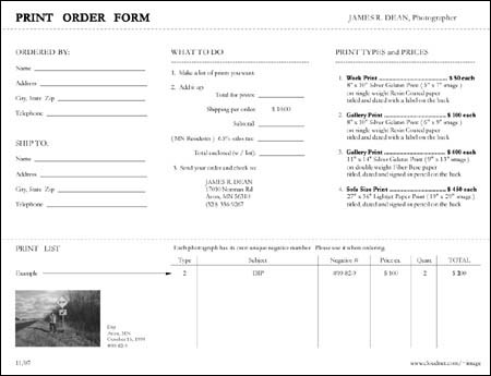 James R Dean, Photographer Order Forms