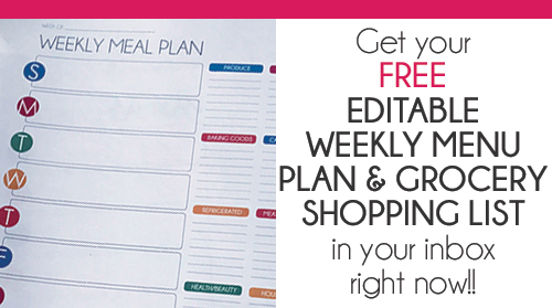 Free Editable Menu Plan and Grocery List! Passionate Penny Pincher - weekly dinner planner with grocery list