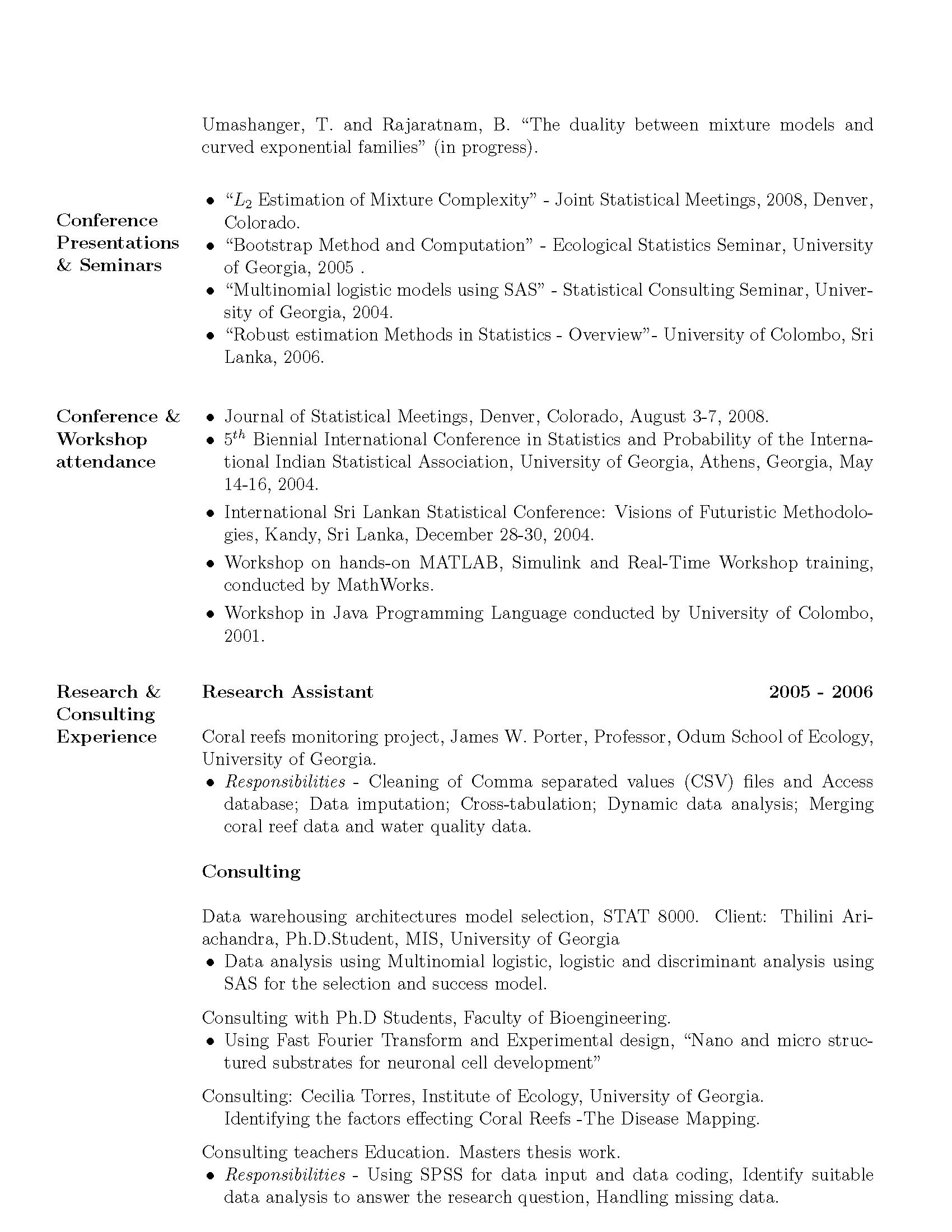 Statistical consultant sample resume