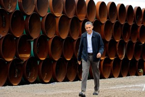 Obama in Cushing, OK, where the pipeline will ease an oil bottleneck. Image from Businessweek.