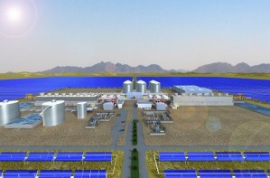 Solana will be completed in 2013. Image from Abengoa Solar.