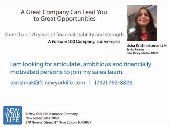 Financial Advisor Job in Edison, NJ by Usha Newyorklife Insurance