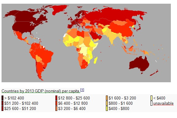 the global map: GDP per capita gap 2013