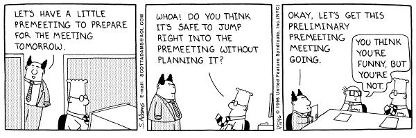 planning the meeting agenda Dilbert Meeting \ Conference - conference agenda