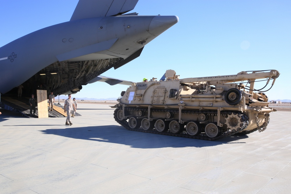 Camp Pendleton conducts strategic airlift to transport Hercules Tank