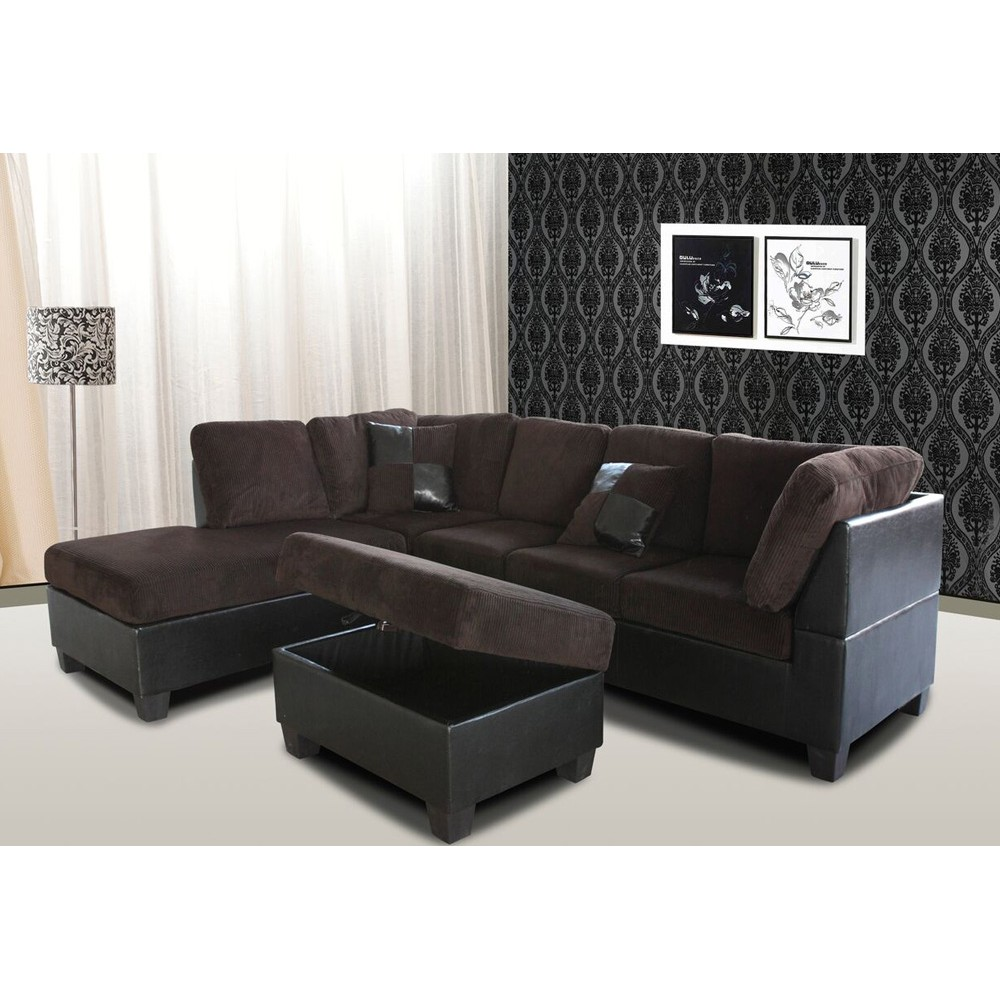 Chocolate Corduroy Sofa 3 Pcs Set Sectional Sofa Corduroy Storage Ottomen Chocolate Color