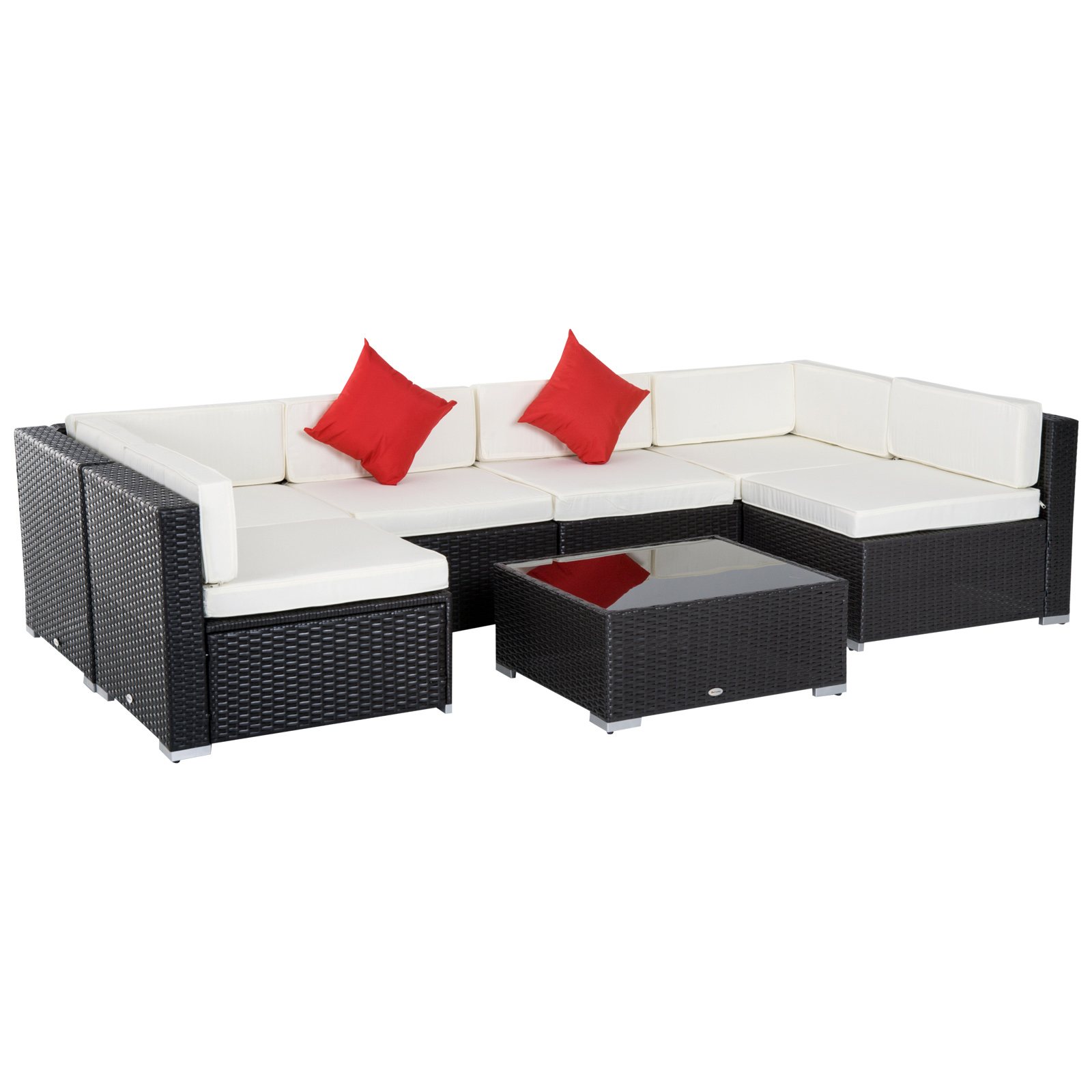 Outsunny 7 Piece Outdoor Patio Pe Rattan Wicker Sofa Sectional Furniture Set Patio Furniture Aosom Canada - Rattan Garden Furniture Clearance Sale